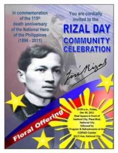 rizal day celebration essay Un day marks the anniversary of the entry into force in 1945 of the un charter  24 october has been celebrated as united nations day since 1948.